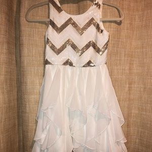 Emily West White and Gold Gil's Dress (size 8)